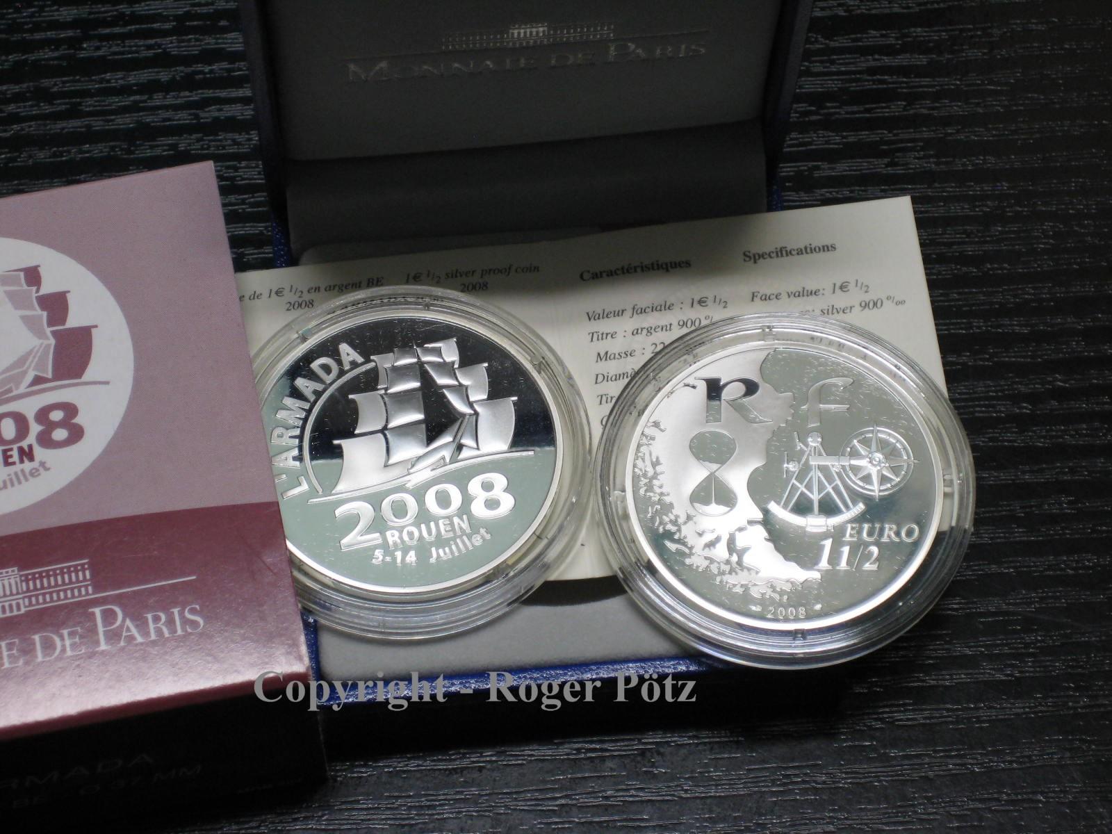 1,50 EURO 2008 FRANKREICH 1,50 Euro 2008 Armada Rouen Silber PP nur 2.790 Ex Auflage PP