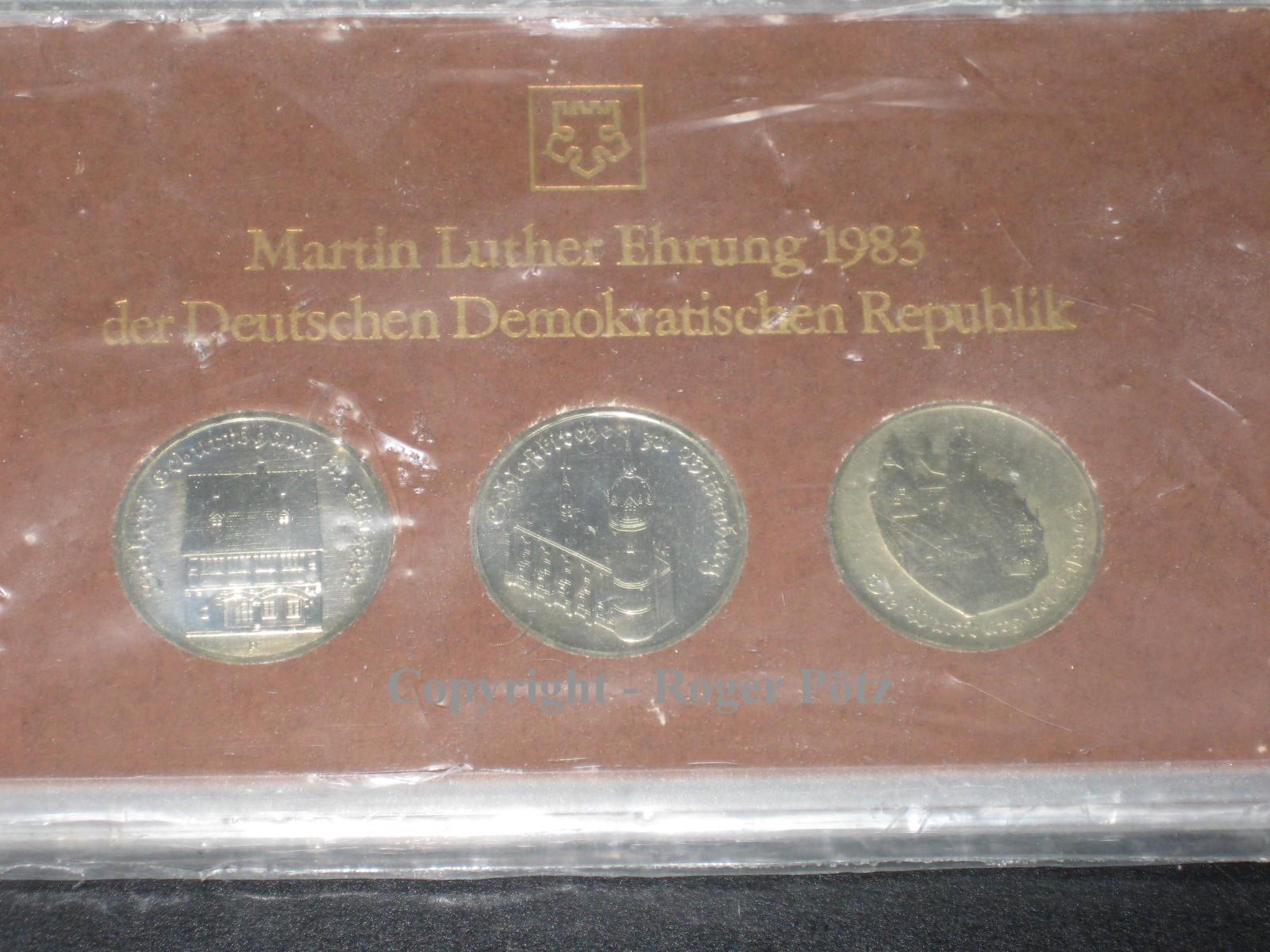 15 Mark 1983 DDR 3 x 5 Mark 1983 Sonderset Geburtshaus - Wittenberg - Wartburg 1983 mit Zert st