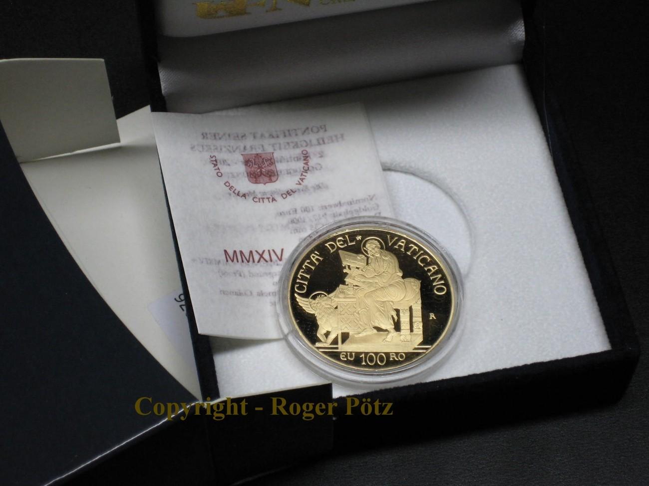 100 Euro 2014 VATIKAN 100 Euro Gold Vatikan 2014 PP Die Evangelisten - Markus - nur 999 Ex Auflage PP