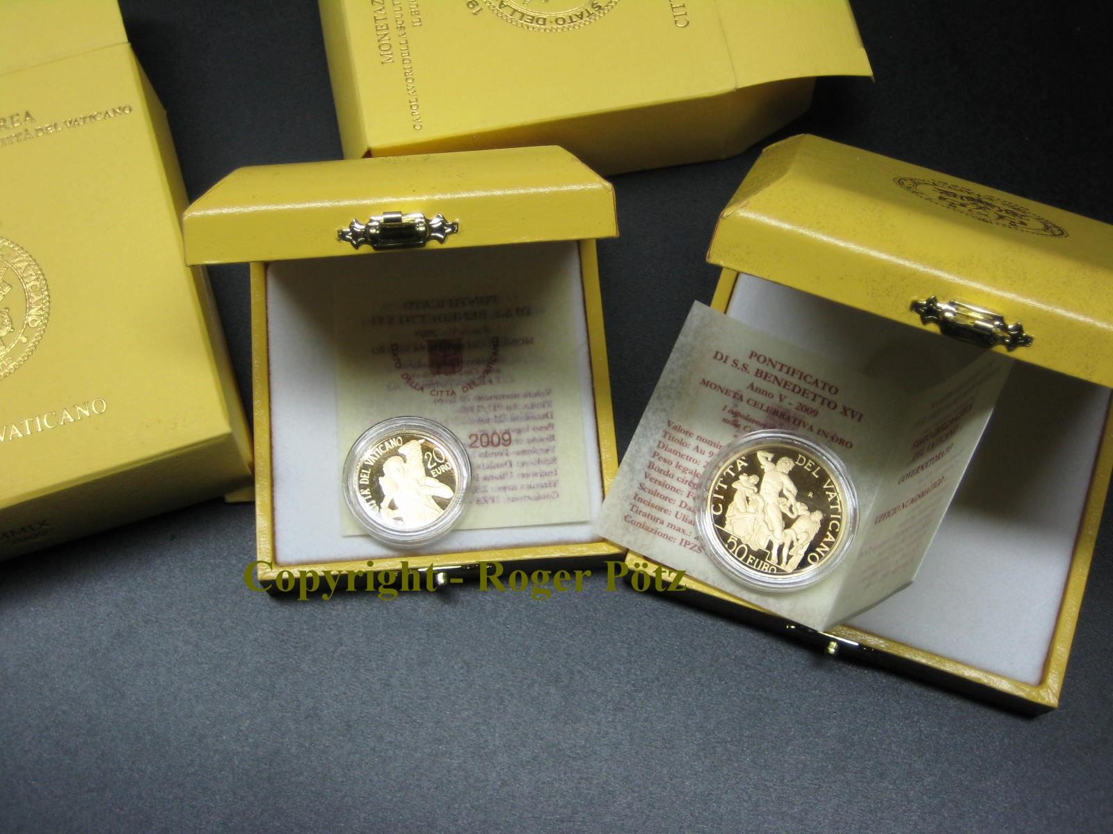70 Euro 2009 Vatikan 20 + 50 Euro Goldmünzen Vatikan 2009 Papst Benedikt PP nur 3.424 Ex. PP ( proof )