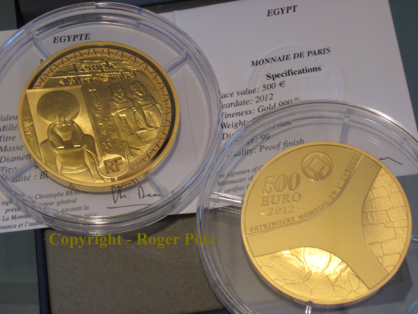 500 Euro 2012 FRANKREICH 500 Euro 5 Unzen Gold 2012 PP Abu Simbel PP