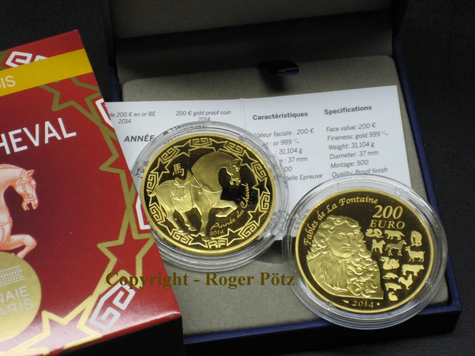 200 Euro 2014 FRANKREICH 200 Euro 2014 Jahr des Pferdes Gold PP max. 500 Ex Auflage PP