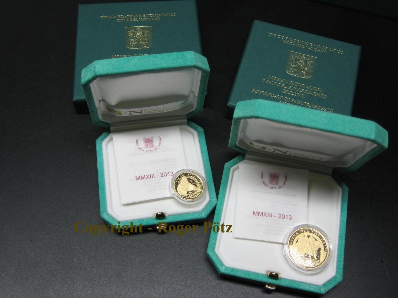 70 Euro 2013 VATIKAN 20 + 50 Euro Gold 2013 Papst Julius II und Papst Leo X. polierte Platte ( PP )