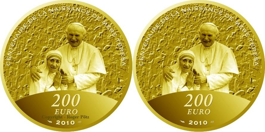 200 Euro 2010 Frankreich 200 Euro 2010 Mutter Theresa Mit Papst Joh