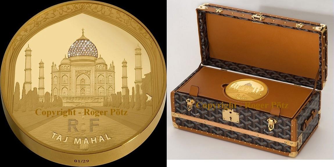 5.000 Euro 2010 Frankreich 5000 Euro 2010 Taj Mahal 1 kg Gold mit Cartier Diamanten 29 Ex. Auflage ! PP