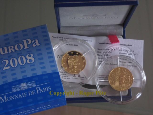 10 Euro 2008 Frankreich 10 Euro Europa Ratspräsidentschaft 2008 PP nur 1,000 Ex. PP ( polierte Platte )