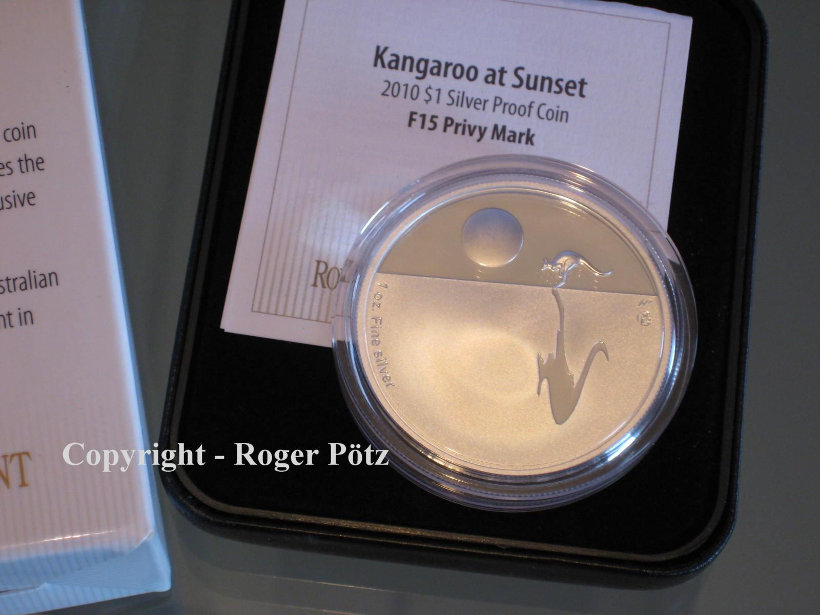 2 x 1 Dollar 2010 AUSTRALIEN 2 x 1 $ 2010 Känguruh Sunset Privymark F 15 bu und PP - TOP PREIS ! bu und PP ( polierte Platte )