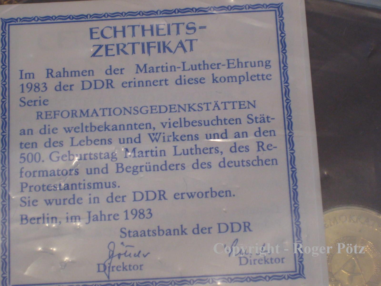 15 Mark 1983 DDR 3 x 5 Mark 1983 Martin Luther Ehrung mit Wartburg 1983 und Staatsbank Zertifikat st Exportqualität