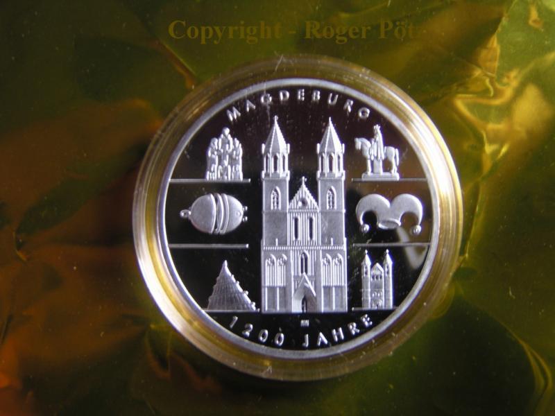10 Euro 2005 BRD 10 Euro 2005 1200 Jahre Magdeburg Silber PP PP ( polierte Platte )