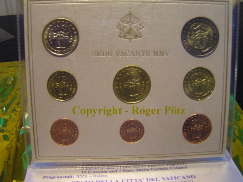 3,88 Euro 2005 Vatikan Kursmünzensatz Sedisvakanz 2005 TOP ! stempelglanz