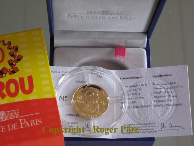 10 Euro 2008 Frankreich 10 Euro 2008 Gold 70 Jahre Spirou nur 387 Ex. Auflage PP