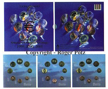 3 x 3,88 Euro 199-2001 Finnland Finnland Tripleset 1999, 2000 und 2001 in Originalverpackung st st