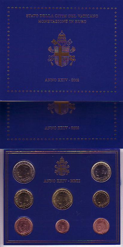 3,88 Euro 2002 Vatikan Original KMS 2002 Vatikan st im blauen Folder stgl.