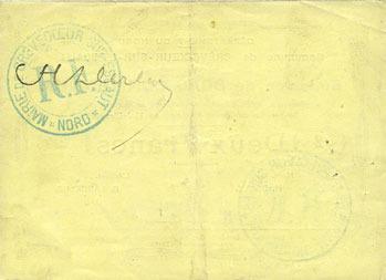 15.7.1915 FRANZÖSISCHE NOTSCHEINE Crèvecoeur-sur-l'Escaut (59). Commune. Billet. 2 francs du 15.7.1915 ss+