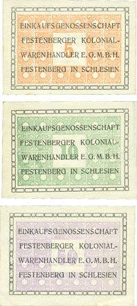 DEUTSCHLAND - NOTGELDSCHEINE (1914-1923) A - J Festenberg. Einkaufsgenossenschaft der Festenberger Kolonialwarenhändler. Billets. 5, 10, 50 pf 3 billets, neufs