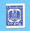 1915 DEUTSCHLAND - KRIEGSGEFANGENENLAGER (1914-1918) Hannovre. X. Armeekorps. Scheckmarken. Billet. 20 pf (1915) vz