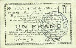 22.5.1916 FRANZÖSISCHE NOTSCHEINE Douai et Région de Carvin (59). Billet. 1 franc 22.5.1916, 1ère série B vz / ss-vz