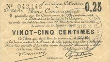 22.5.1916 FRANZÖSISCHE NOTSCHEINE Douai et Région de Carvin (59). Billet. 25 centimes 22.5.1916, 2e série I ss