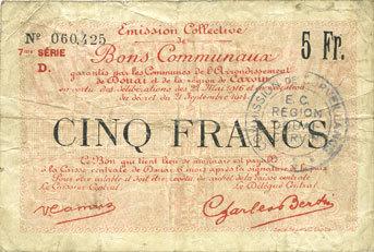 22.5.1916 FRANZÖSISCHE NOTSCHEINE Douai et Région de Carvin (59). Billet. 5 francs 22.5.1916, 7e série D s / sge
