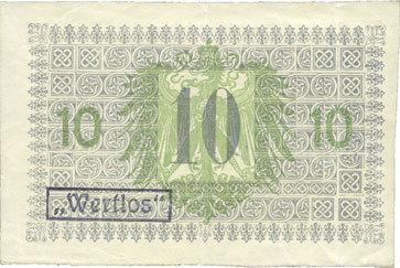 1918-11-16 DEUTSCHLAND - NOTGELDSCHEINE (1914-1923) A - J Flatow (Zlotow, Pologne). Kreis. Billet 10 mk 16.11.1918 Cachet d'annulation noir & violet