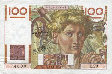 7.11.1945 BANKNOTEN DER BANQUE DE FRANCE Banque de France. Billet. 100 francs jeune paysan, 7.11.1945 vz