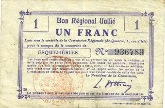 FRANZÖSISCHE NOTSCHEINE Esquehéries (02). Commune. Billet. B.R.U., 1 franc s+