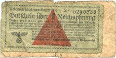 1939-1945 DEUTSCHLAND Allemagne. Camps allemands de prisonniers de guerre 1939-1945. Billet. 10 pfennig Très rare et intéressant document, s