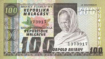 ANDERE AUSLÄNDISCHE SCHEINE Madagascar. Billet. 100 francs / 20 ariary I