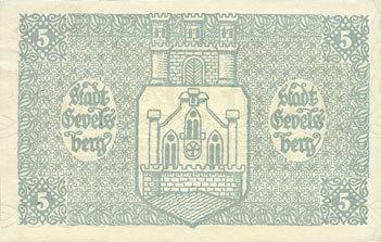 5.11.1918 DEUTSCHLAND - NOTGELDSCHEINE (1914-1923) A - J Gevelsberg. Stadt. Billet. 5 mark 5.11.1918 I