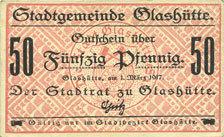 1.3.1917 DEUTSCHLAND - NOTGELDSCHEINE (1914-1923) A - J Glashütte. Stadt. Billet. 50 pf 1.3.1917 vz+