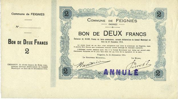1914-12-31 FRANZÖSISCHE NOTSCHEINE Feignies (59). Billet. 2 francs du 31.12.1914, avec souche vz+