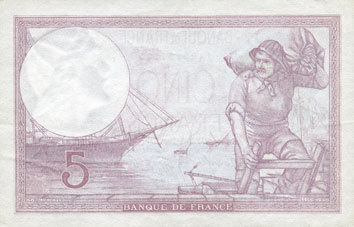 3.8.1939 BANKNOTEN DER BANQUE DE FRANCE Banque de France. Billet. 5 francs violet, 3.8.1939, modifié vz
