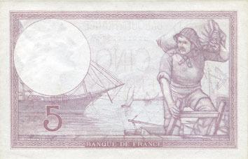5.10.1939 BANKNOTEN DER BANQUE DE FRANCE Banque de France. Billet. 5 francs violet, 5.10.1939, modifié Très petites taches / avers sinon vz