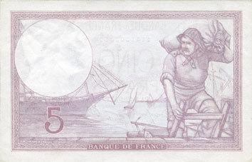 5.10.1939 BANKNOTEN DER BANQUE DE FRANCE Banque de France. Billet. 5 francs violet, 5.10.1939, modifié vz