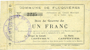 4.7.1915 FRANZÖSISCHE NOTSCHEINE Fluquières (02). Commune. Billet. 1 franc 4.7.1915 ss