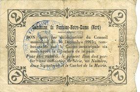 1915-12-16 FRANZÖSISCHE NOTSCHEINE Fontaine-Notre-Dame (59). Commune. Billet. 2 francs 16.12.1915, série A ss