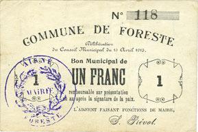 15.4.1915 FRANZÖSISCHE NOTSCHEINE Foreste (02). Commune. Billet. 1 franc 15.4.1915 ss-vz