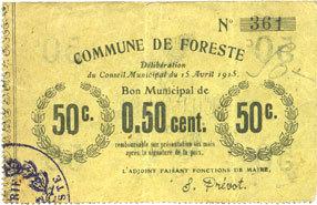 15.4.1915 FRANZÖSISCHE NOTSCHEINE Foreste (02). Commune. Billet. 50 centimes 15.4.1915 ss
