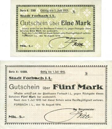 19.8.1914 FRANZÖSISCHE NOTSCHEINE Forbach (57). Ville. Billets. 1 mark, 5 mark 19.8.1914, série A, réimpressions 2 billets splendides