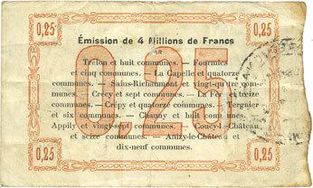 1915-10-24 FRANZÖSISCHE NOTSCHEINE Fourmies (59) Bon Régional des Départ. du Nord, Aisne & Oise. Billet. 25 cmes 24.10.1915, 1ère série ss / s