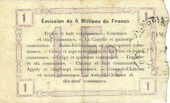 1915-10-24 FRANZÖSISCHE NOTSCHEINE Fourmies (59). Bon Régional des Départ. du Nord, Aisne & Oise. Billet. 1 franc 24.10.1915, 2e série ss