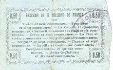 8.5.1915 FRANZÖSISCHE NOTSCHEINE Fourmies (59). Bon Régional des Départ. du Nord, Aisne & Oise. Billet. 50 cmes 8.5.1915, série 8 ss+ / ss