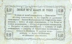 8.5.1915 FRANZÖSISCHE NOTSCHEINE Fourmies (59). Bon Régional des Départ. du Nord, Aisne & Oise. Billet. 50 cmes 8.5.1915, série 47 ss