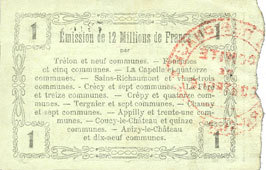 8.5.1915 FRANZÖSISCHE NOTSCHEINE Fourmies (59). Bon Régional des Départ. du Nord, Aisne & Oise. Billet. 1 franc 8.5.1915, série 15 vz