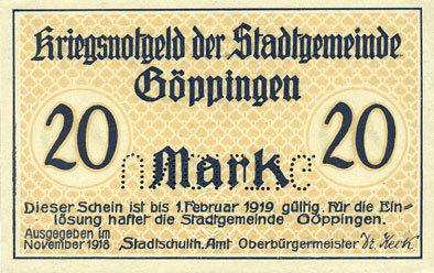 1918 DEUTSCHLAND - NOTGELDSCHEINE (1914-1923) A - J Göppingen. Stadt. Billet. 20 mark nov. 1918, annulation par perforation