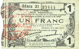 8.5.1915 FRANZÖSISCHE NOTSCHEINE Fourmies (59). Bon Régional des Départ. du Nord, Aisne & Oise. Billet. 1 franc 8.5.1915, série 21 ss