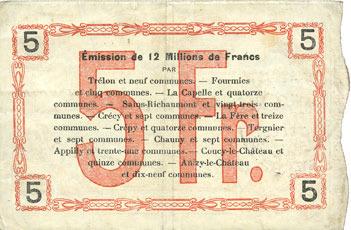 8.5.1915 FRANZÖSISCHE NOTSCHEINE Fourmies (59). Bon Régional des Départ. du Nord, Aisne & Oise. Billet. 5 francs 8.5.1915, série 1 ss