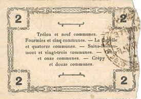 18.6.1917 FRANZÖSISCHE NOTSCHEINE Fourmies (59). Bon Régional des Départ. du Nord, Aisne & Oise. Billet. 2 francs 18.6.1917, série 1 Deux petites taches / revers sinon vz