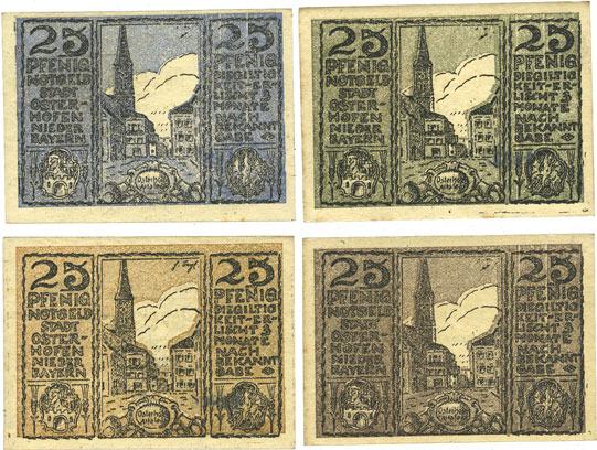 27.1.1917 DEUTSCHLAND - NOTGELDSCHEINE (1914-1923) K -Z Osterhofen, Stadt, billets, 25 pfennig (4 ex) 27.1.1917 4 billets, très petite tache de rousseur sur 1 billet et défaut d'encrage sur 1 autre sinon neufs