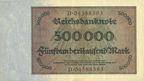 1.5.1923 DEUTSCHLAND Allemagne. Billet. 500 000 mark 1.5.1923. Série D ss+ / vz